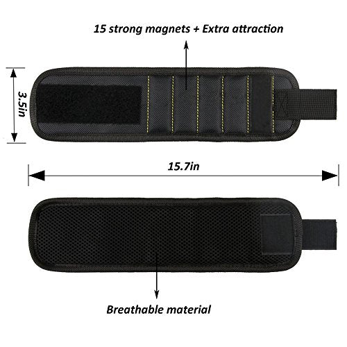 SigmaGo Magnetic Wristband with 15 Strong Magnets for Holding Tools, Screws, -