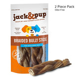 "Jack&Pup 7"" Premium Grade Thick Braided Bully Sticks Dog Treats 2 Pack – 7"" Long"