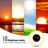 Wake Up Light Alarm Clock, Digital Alarm Clock with Colored Sunrise Simulation,