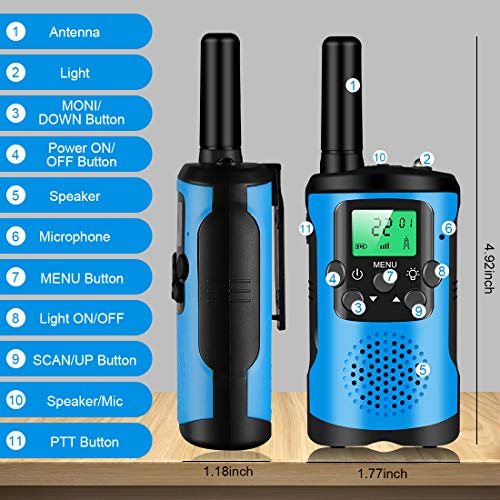 Walkie Talkies for Kids 2 Pack,22 Channels 2 Way Radio with LCD Flashlight Long Range Kids Walkie Talkies,Best Birthday Gifts for 3-18 Year Old Boys and Girls for Camping, Hiking, Outside Adventure
