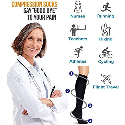 4 Pairs Compression Socks For Women and Men -- Best Medical, Nursing, Athletic,