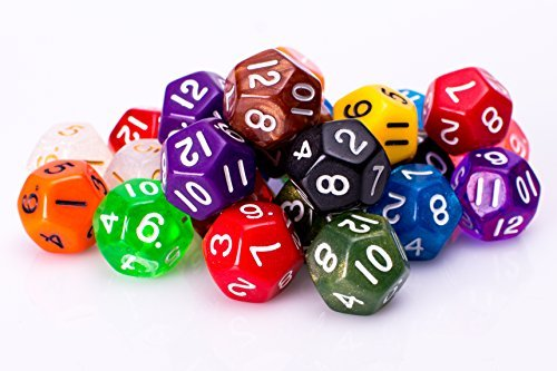 25 Count Assorted Pack of 12 Sided Dice - Multi Colored Assortment of D12 Dice