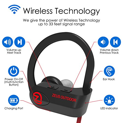 Sport Bluetooth Headphones IMPROVED 2018 - Mens Womens Running Headphones - Best