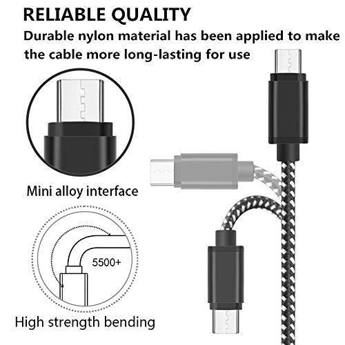 [4Pack] USB Type C Cable, ADDAO [3FT 6FT 6FT 10FT] Charge Cable, Nylon Braided C