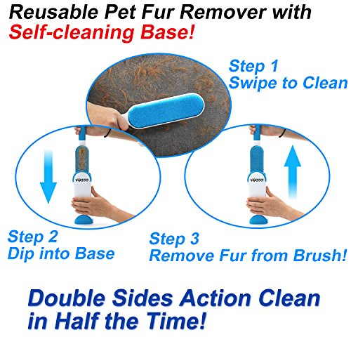 Pet Hair Remover & Lint Remover, Dog and Cat Fur Lint Brush ,Self-Cleaning Base