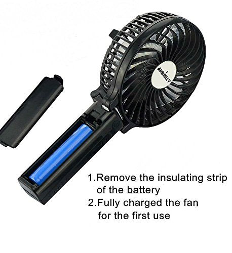 Ambielly Handfan Rechargeable Portable Handheld Mini Fan Foldable Fans Battery O