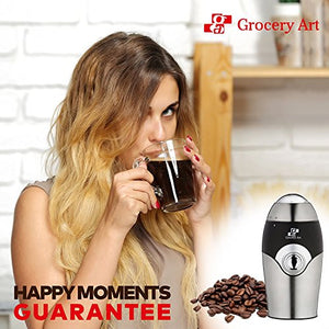 Electric Coffee Grinder Blade Mill - Small & Compact Simple Touch Automatic Grin