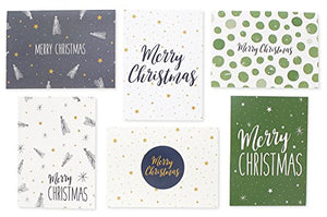 48 Pack of Christmas Winter Holiday Family Greeting Cards Green and Cream Merry