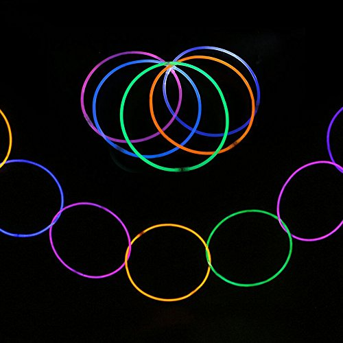 100PCS Glow Sticks Set with Connectors Glowstick Light-Up Necklace Bracelets Mixed Color for Kids Glow Stick Pack