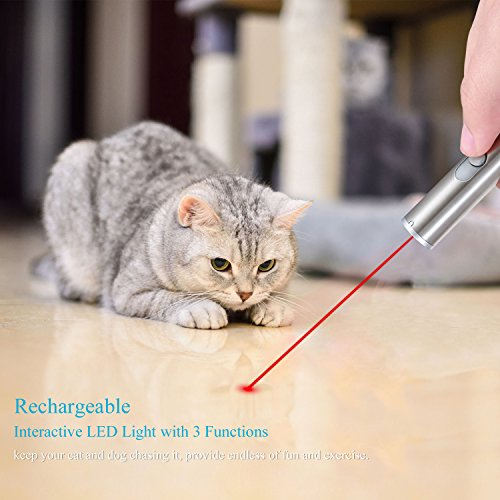 [Rechargeable] Interactive Laser Pointer Toys with 3 Modes Red Laser, UV and USB