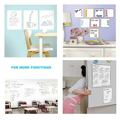 Whiteboard Sticker, Dry Erase Wall Decal, Adhesive White Board Sheets, 17.7'' x