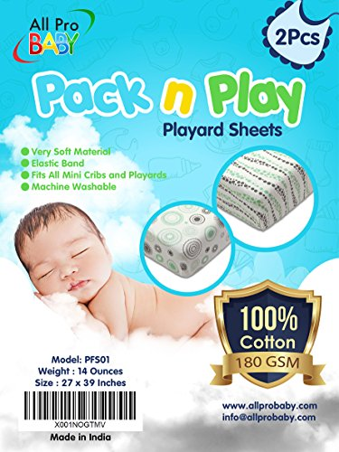 Pack n Play Portable Mini Crib Fitted Sheets 2 Pack – 100% Soft Jersey Cotton