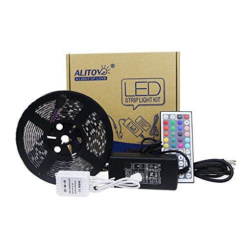 ALITOVE 16.4ft 5050 RGB LED Flexible Strip Light Black PCB DC 12V Kit 5M 300 LEDs 5050 SMD IP65 Waterproof Color Changing LED Rope Light Strips & 12V 5A Power Adapter & 44Key IR Remote Controller