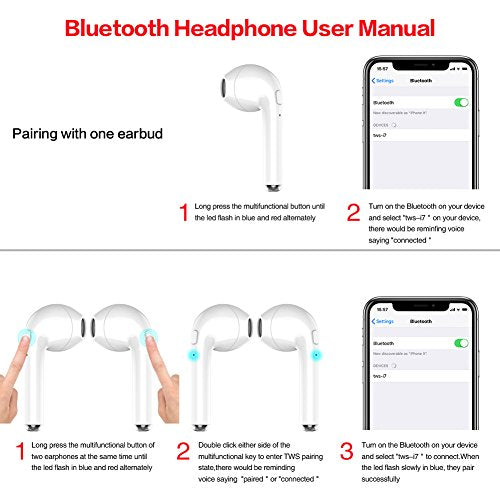 WSCSR Wireless Bluetooth Earbuds Headphones Stereo In-Ear Earpieces Earphones Ha