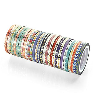 48 Rolls Foil Gold Skinny Decorative Masking Washi Tapes 3mm Wide x 5 Meter Long
