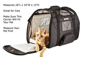 Airline Approved /Travel Transport Pet Carrier/ 2 Soft Fleece Pads/ Washable/ 2018 Newly Designed/ Pet Purse/Travel Tote/Kennel Cab/Foldable/Portable Pet Crate/ Safety/ Shoulder Suitcase Straps