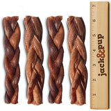 "Jack&Pup 6"" Premium Grade Braided Junior Bully Sticks Odor Free Dog Treats 4 &"
