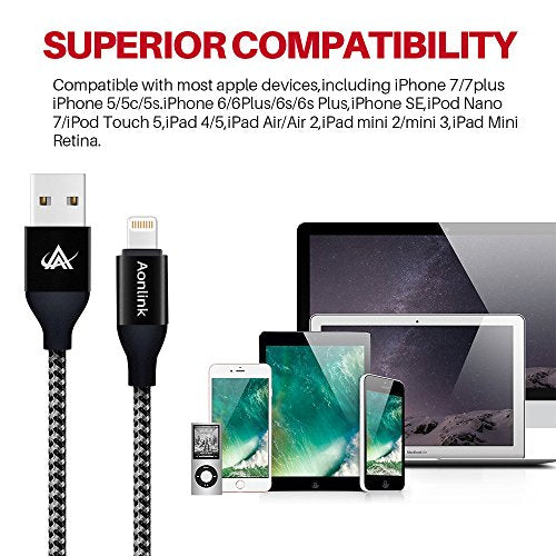 iPhone Charger,Guzon 3Pack 3FT/6FT/10FT(1M/2M/3M) Nylon Braided Lightning Cables USB Charger Cord, Compatible with iPhone X/8/8 Plus/7/7 Plus and More(Silver Black)
