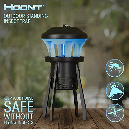 Hoont Indoor Outdoor 3-Way Mosquito and Fly Trap Killer with Stand - Bright UV &