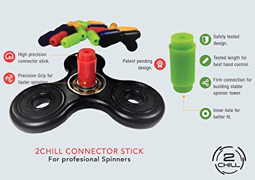 2 Fidget Spinners + 2 FREE Connectors by 2CHILL | ADHD fidget toy and stress relief toy party favor | Colors: purple and white