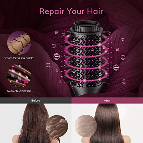 AEVO Hot Air Brush, Combination Hair Dryer Brush & Volumizer, 4-in-1 Hair Dryer, Styler, Curler, Straightener [Salon Styling] [Ionic Dryer] [Ceramic] [Electric] [Portable] [3 Modes], Black