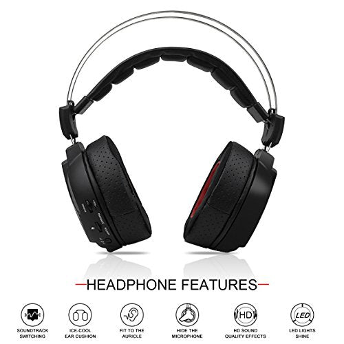 Wireless Gaming Headset 7.1 Surround Sound Gaming Headphones for PS4 PC Computer MAC Laptop, 3.5mm Wired Gaming Headphones for Xbox one iPhone - Black