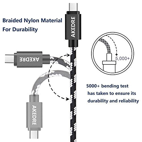 USB Type C Cable, AKEDRE USB C Cable 4Pack [10FT 6FT 3FT 3FT] Nylon Braided Fast