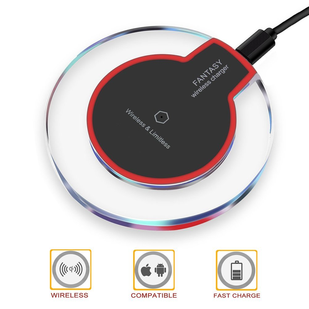 Wireless Charger, Wireless Charging, Wewdigi Ultra Slim Wireless Charger for iPhone X / 8 / 8 Plus, Sleep-friendly with Anti-Slip Rubber NO AC Adapter (Black)