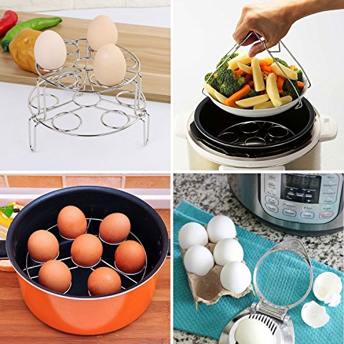 2-Pack Egg Steamer Rack, Stackable 304 Stainless Steel Steam Trivet for Instant
