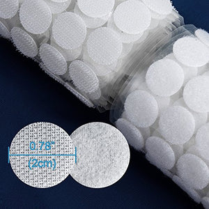 500pcs250 Pairs Diameter Sticky Back Hook & Loop Dots0.78In + 2 Rolls Sticky and