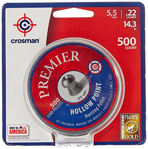 Crosman Premier Hollow Point Pellet .22 cal, 14.3 Gr, 500 count