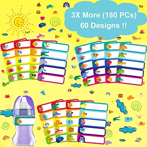 180 Pcs Baby Bottle Labels for Daycare, Waterproof, Self-lamination, Write-on,