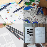 Bullet Journal Stencil & Pens 4 x 7 Inch w/ 10 Water Based Color Fine Liner Pens