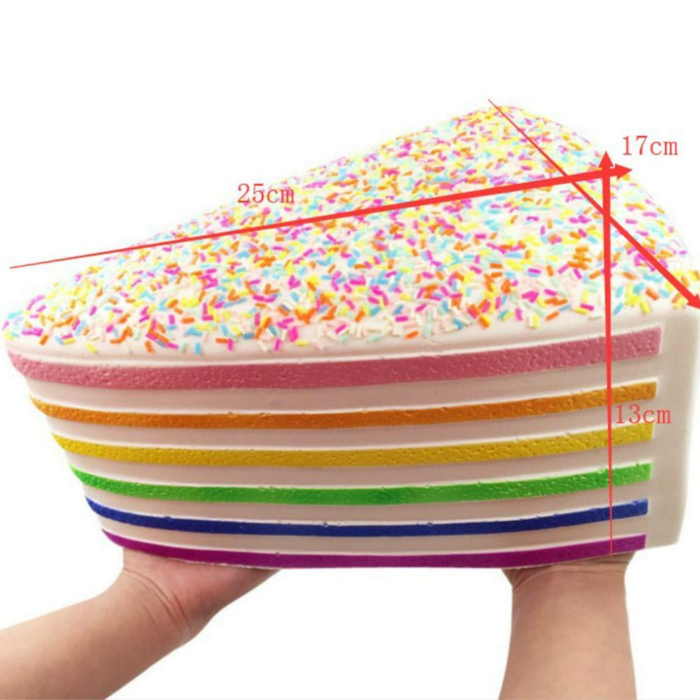 Ganjiang Giant Squishy Toys Jumbo Soft Slow Rising Squishies Collection Gift Stress Reliever (Rainbow Cake)