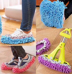 10pcs (5 Pairs) Mop Slippers Floor Dust Shoes Cover, Soft Washable Reusable Microfiber Cleaning Foot Socks Dirt Hair Cleaner for Bathroom Office Kitchen House Polishing