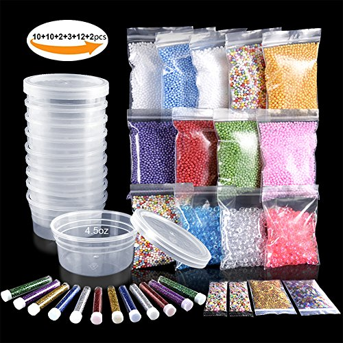 Slime Making Materials kit, Teenitor 10 pcs Slime Storage Containers and12 pcs G