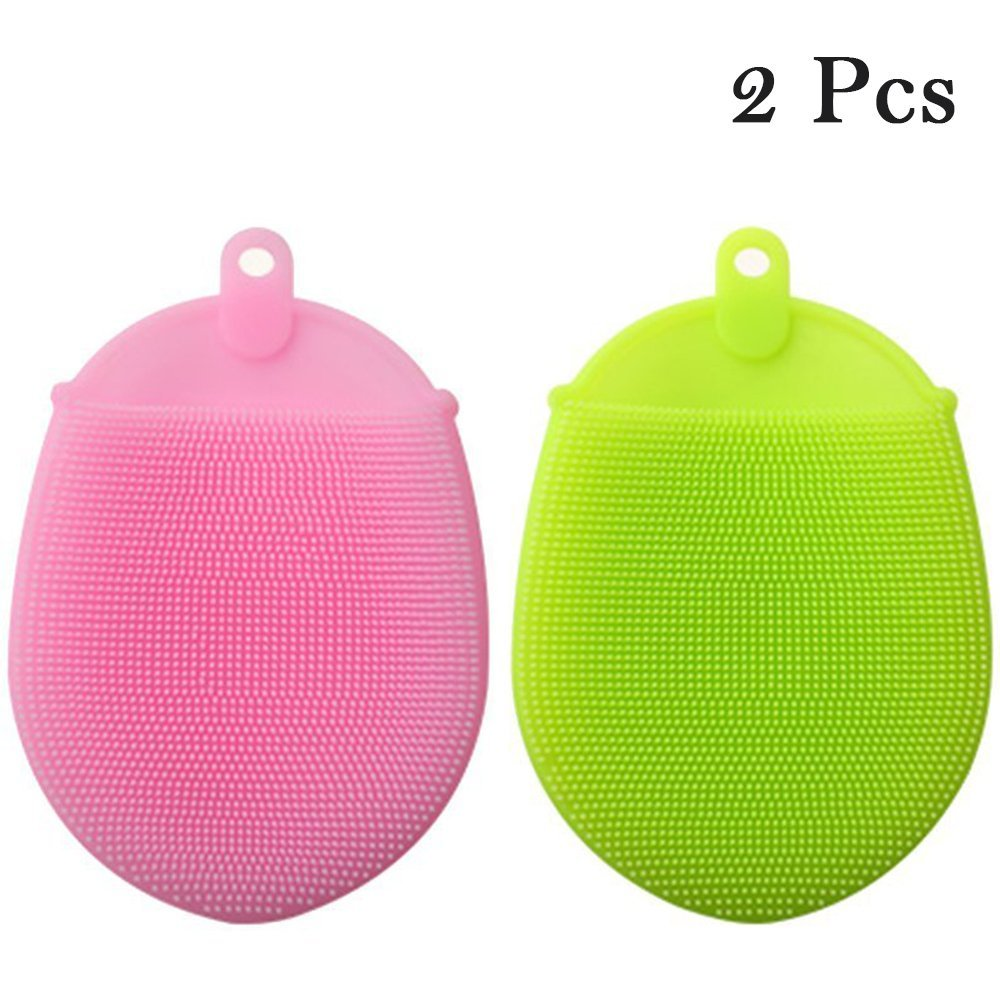 2 Pack Amhii Silicone Scrubbers Sponge for Cleaning and Bath -Antibacterial, Non