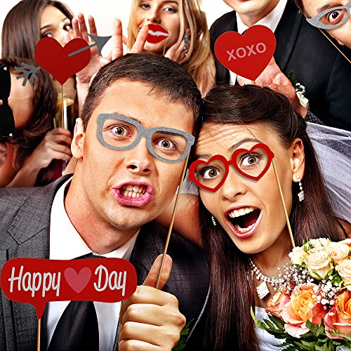 Valentines Day Photo Booth Props w/ Happy Valentines Day Banner Fit Adult & Kids
