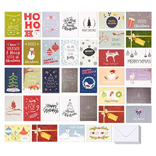 36-Pack Merry Christmas Greeting Cards Bulk Box Set - Assorted Winter Holiday Xmas Greeting Cards in 36 Special Designs, Envelopes Included, 4 x 6 Inches