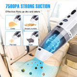 Handheld Vacuum Cordless Car Vacuum Cleaner Upgraded 7500PA Portable Lightweight Rechargeable Wet Dry Vacuum Cleaner with Power Display for Home Pet Hair Car Cleaning