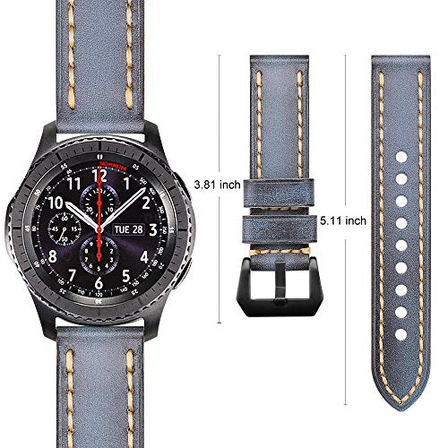 For Gear S3 Watch Band 22mm, Fintie Vintage Cowhide Genuine Leather Replacement