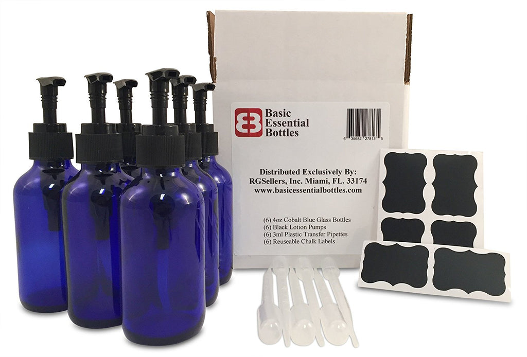 6 4 Ounce 4 oz Empty Cobalt Blue Glass Bottles W/black Lotion Pump Tops 6 3ml 6
