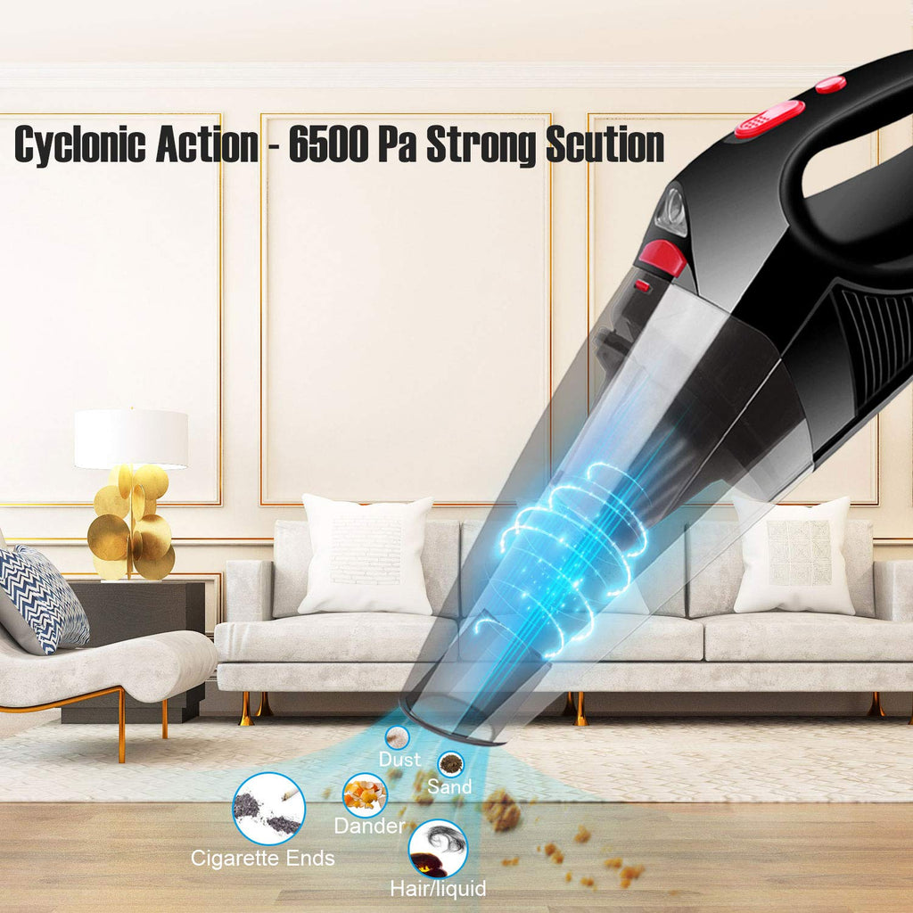 Handheld Vacuum Lightweight, Cordless Vacuum Cleaner for Car, with LED Light 6500Pa Powerful, Wet Dry Use Hand Vac for Quick Cleaning Home Office Car Carpet
