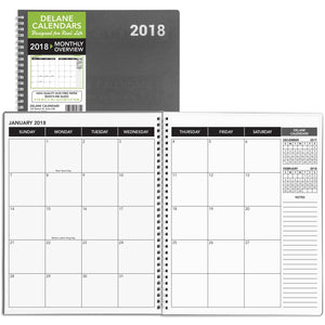 2018 Monthly Daily Planner Calendar Appointment Book Grey Cover 8.5 x 11 15