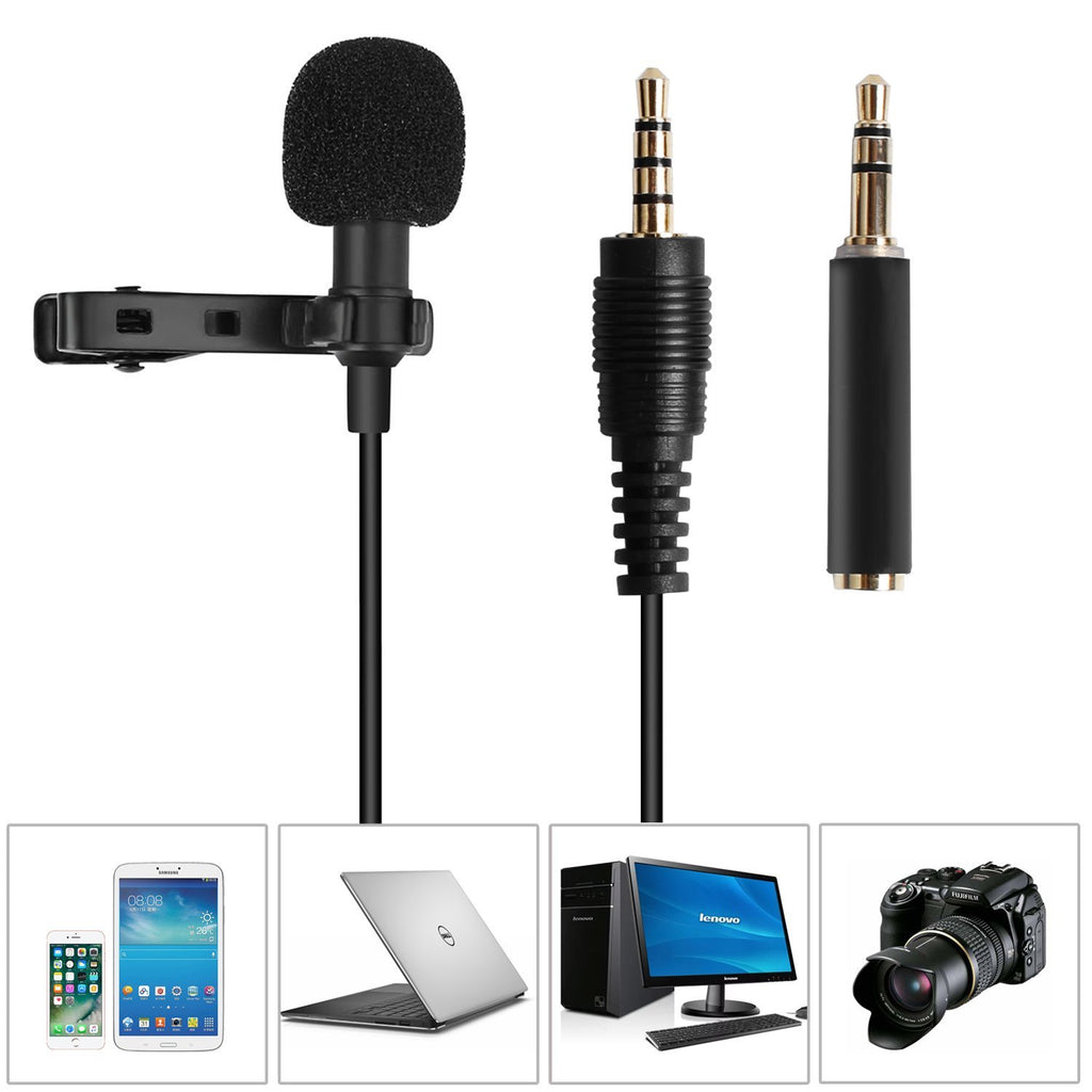 Lavalier Lapel Microphone,Omnidirectional Condenser Microphone Recording Clip-On