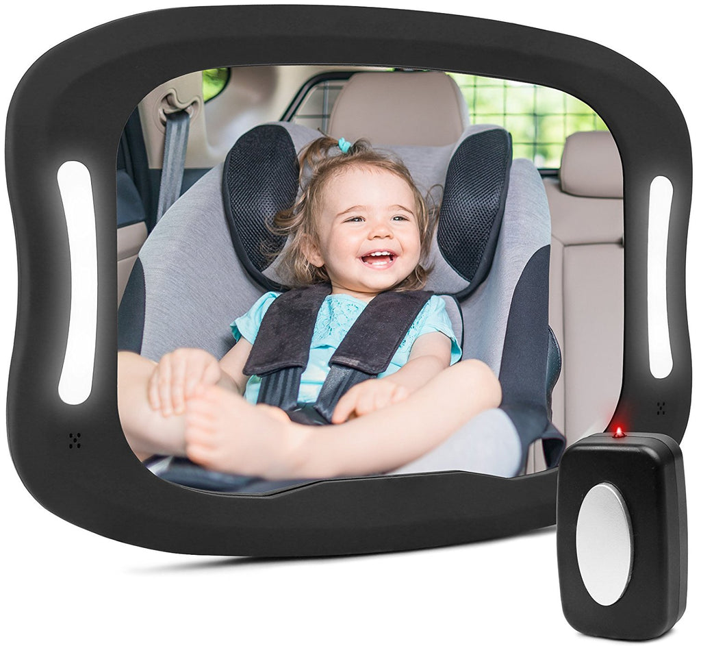 Baby Car Mirror with Remote Control Led Light Shatter-Proof Acrylic Baby Mirror