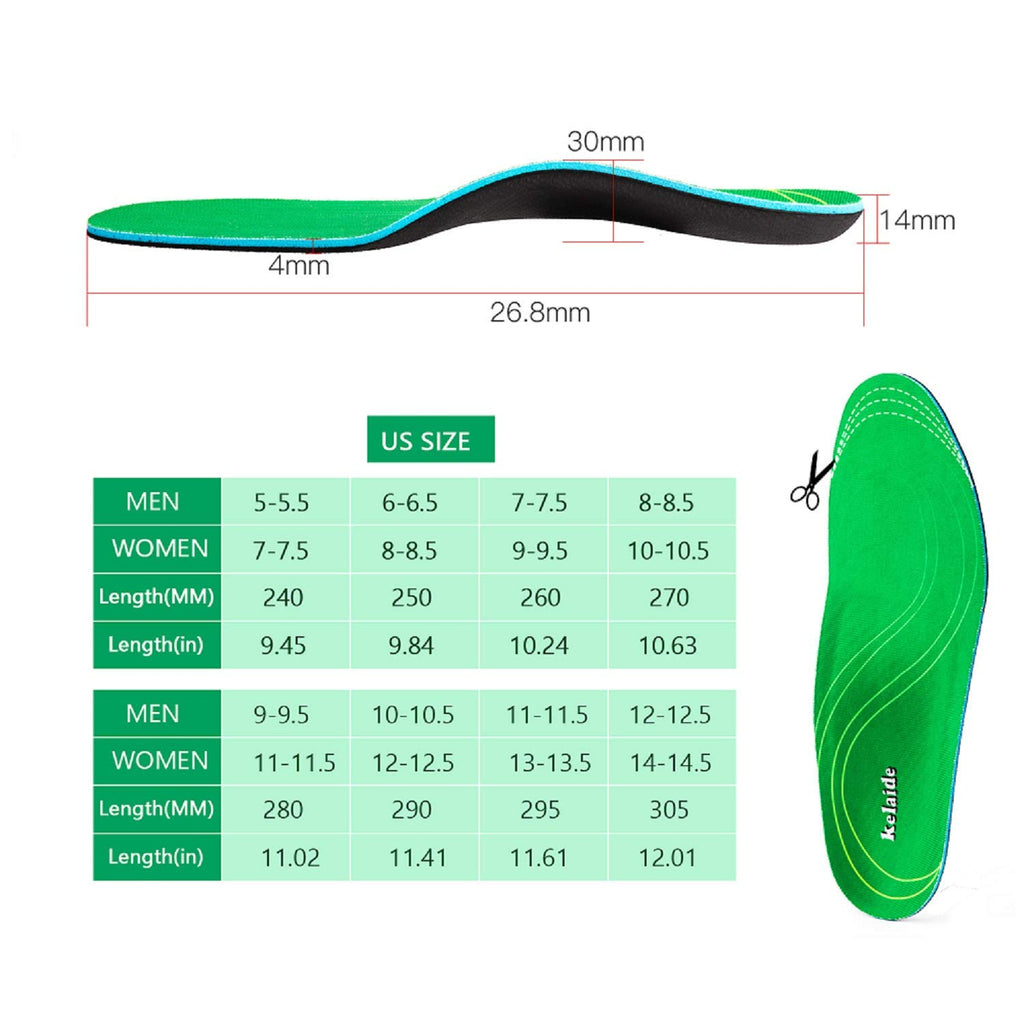High Arch Support Insoles, Orthotic Inserts for Flat Feet, Plantar Fasciitis, Feet Pain, Heel Pain - Full-Length Heel Insoles for Women and Men (Mens(12-12.5)/Womens(14-14.5))