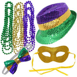 Joyin Toy 12 Pieces Mardi Gras Accessory Set Party Favors with Yellow Green Hat,