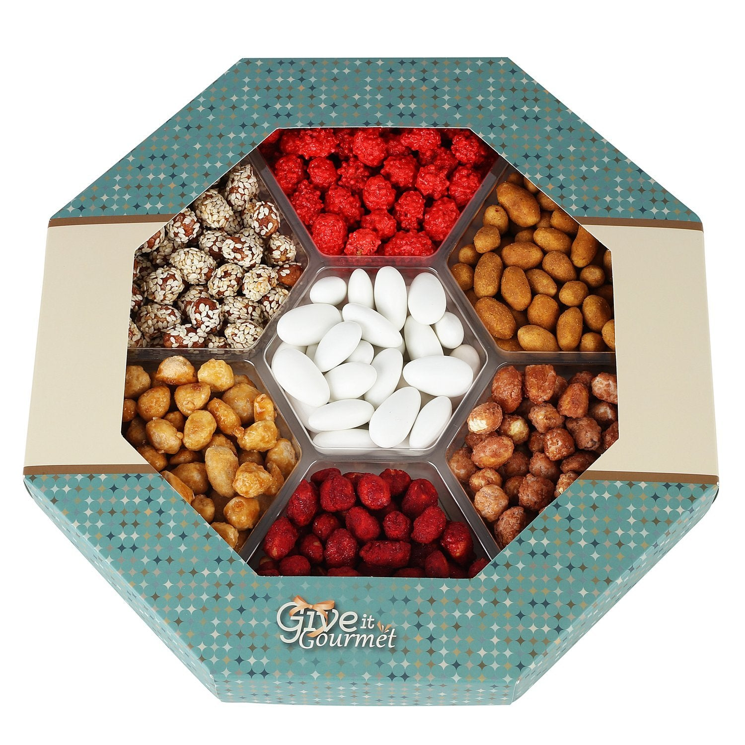 7 Mixed Delicious Nuts - Holiday Gift Basket with 6 Assorted Peanuts - Sugar Coated, Honey Glazed, French Burnt, Butter Toffee, Crunchy BBQ Taste, Sesame Coated and Jordan Almonds by Give It Gourmet