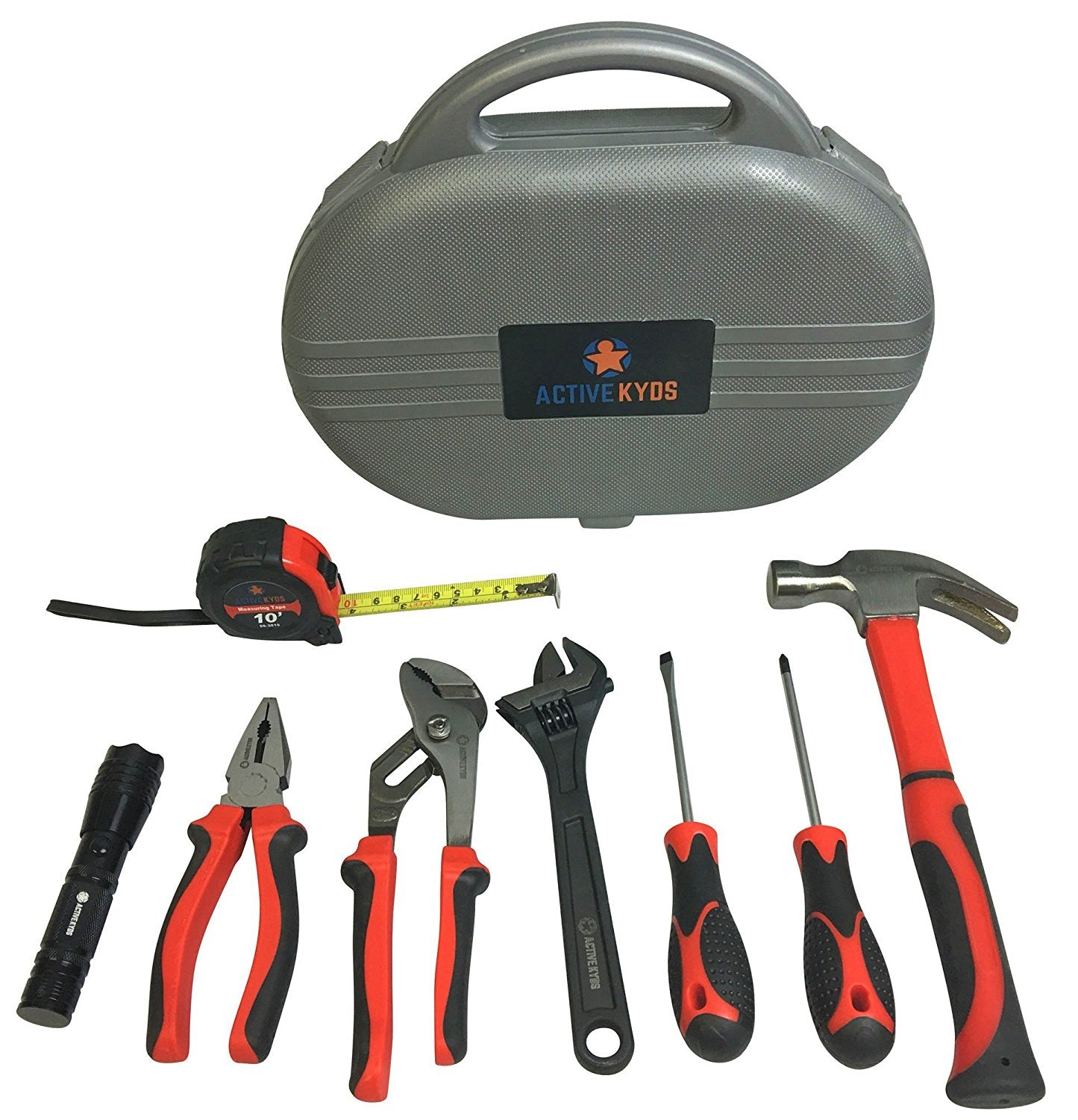 Active Kyds 9 Piece Kids Tool Set with Real Tools: Fiberglass Hammer, Tape LED